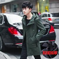 日系潮牌风衣男士外套修身中长款连帽夹克春秋季韩版学生防风大衣 绿色加绒 M