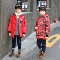 秋冬款男童连帽迷彩两面穿加长款棉袄中大童时尚潮流男孩外套