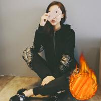 2017秋冬装新款天鹅绒运动套装女金丝绒时尚休闲卫衣加绒两件套潮