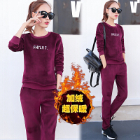 秋装新款2017女装韩版时尚休闲运动服套装女秋冬金丝绒卫衣两件套