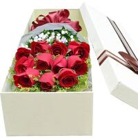 喜迎中秋国庆情人节11朵红白粉香槟玫瑰花束同城鲜花速递广州北京上海全国送花