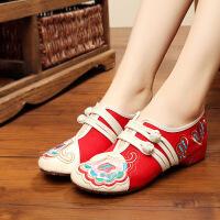老北京布鞋女绣花鞋透气休闲花朵单鞋子红色女鞋民族风舞蹈女鞋子