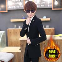 冬季加绒加厚休闲西服男韩版修身小西装青少年发型师中长款外套潮 黑色 加绒胸针款 XL