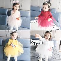 婴儿童衣服秋季1岁3个月女宝宝新年连衣裙秋冬装女童网纱公主裙子