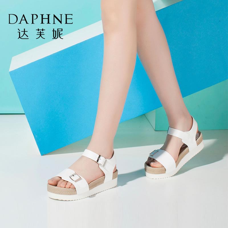 Daphne/达芙妮女鞋夏季时尚圆头编织厚底平跟女凉鞋