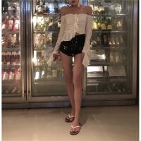 夏季新款女装韩版不规则毛边裤脚高腰热裤性感修身绑带牛仔短裤潮 黑色牛仔敲好看