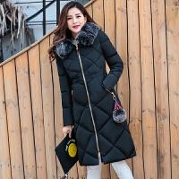 棉衣女中长款冬装新款时尚中老年妈妈装大码修身韩版羽绒外套