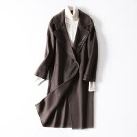 双面呢大衣冬装新款翻领中长款过膝宽松毛呢外套