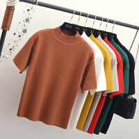 韩版半高领针织衫纯色短袖T恤女 宽松套头毛衣秋冬半袖打底衫上衣