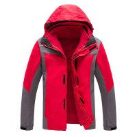 户外冲锋衣女冬季三合一两件套男加绒可拆卸黑色登山服潮 红色 男