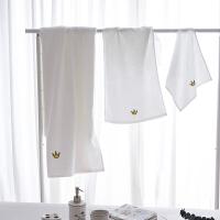 加厚吸水刺绣白色洗脸毛巾小清新洗澡浴巾 简约全棉方巾皇冠