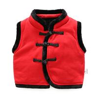 女宝宝春秋冬装新年男婴儿衣服厚马甲加绒加厚保暖外套装秋装坎肩