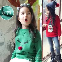 圣诞节童装男童秋冬款卫衣女童儿童纯棉长袖T恤宝宝麋鹿加绒外套