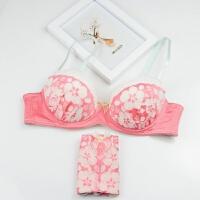 2018新款少女文胸套装秋学生日系软钢圈薄款性感甜美蕾丝刺绣舒适内衣成套