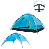 户外3-4人全自动帐篷 郊游2人防雨家庭自驾游 双人 帐篷套装 两用弹簧 蓝色