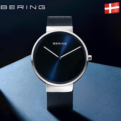 bering白令手表男正品防水石英表简约时尚休闲潮流钢带手表女来自北欧丹麦 蓝宝石镜面 北欧蓝系列