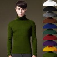 春秋季男装纯色半高领羊毛衫男士纯羊毛打底针织衫