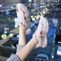 学生草莓休闲运动鞋女 韩版百搭网面鞋女新款透气小白鞋女时尚系带
