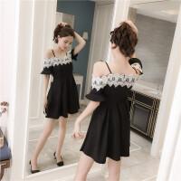 夏季新款韩版蕾丝拼接一字肩吊带连衣裙气质小礼服裙