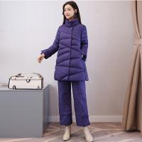 棉衣套装女2017冬季新款A字棉袄大码显瘦羽绒阔腿裤两件套潮