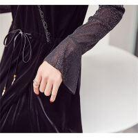 拼接蕾丝吊带裙两件套收腰显瘦连衣裙长袖女18春夏季