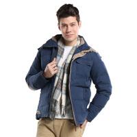 男士加厚羽绒服 秋冬季新款连帽保暖外套男装 藏青色