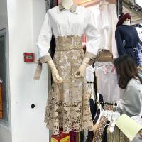 韩国ulzzang2018春装款中长款双层领衬衫+镂空蕾丝半身裙两件套女