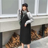 七格格连衣裙长袖长款过膝2019新款冬季套头韩版拼接气质学生裙子