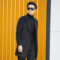 秋冬韩版新款双面羊绒大衣男正品羊毛呢修身西装领高端商务潮 黑绿 S