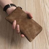 新款男士真皮长款拉链钱包牛皮手拿包手机包新简洁女手包