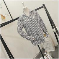 春季新品POLO领长袖学院风条纹单排扣衬衫女23785