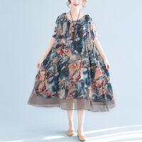 加肥加大码女装胖妹妹夏装波西米亚海边度假沙滩长裙200斤连衣裙