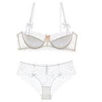 夏欧美性感聚拢薄款蕾丝内衣文胸套装纯色薄模杯女士大码胸罩乳罩