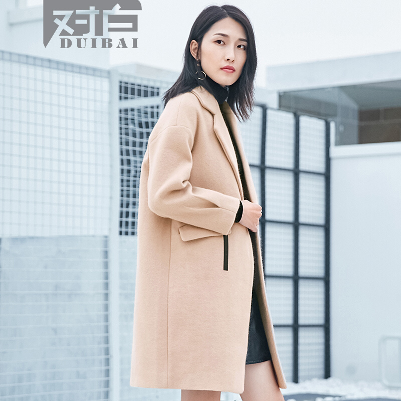 对白时尚拼接米驼色长袖呢子大衣新款中长款毛呢外套女中长款温暖米驼皮料拼接别至袖口