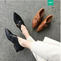 古奇天伦新款潮百搭韩版春季尖头单鞋黑色小皮鞋女中跟英伦春款女鞋子KI05009