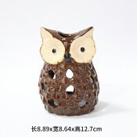 陶瓷情侣猫头鹰摆件风灯铝杯蜡烛台秋天节日气氛道具礼品