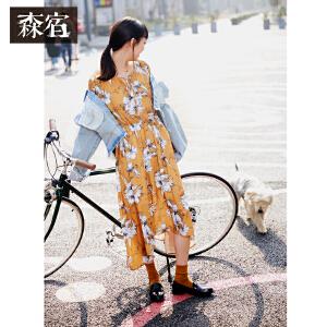 森宿夏装2018新款文艺系带装饰荷叶边袖口雪纺连衣裙女