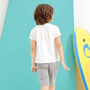 【尾品汇 5折直降】amii童装2017夏季新款中大童男童韩版印花T恤休闲短裤两件套装薄