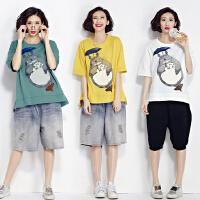 大码女装夏季短袖上衣200斤减龄洋气中长款胖mm显瘦文艺范纯棉T恤