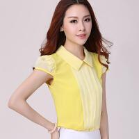 气质柔美娃娃领雪纺衫女夏季短袖上衣宽松显瘦百搭黄色雪纺衬衫潮