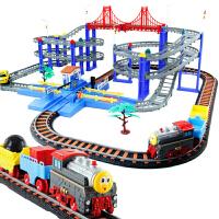 儿童男玩具汽车电动轨道车玩具拖马斯小火车四层豪华礼盒套装