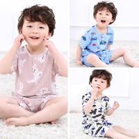 夏季儿童睡衣男孩棉绸薄款小童短袖男童大童男宝宝绵绸家居服套装