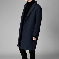 冬季韩版原宿毛呢大衣男落肩双面呢羊绒中长款呢子外套帅气青年男