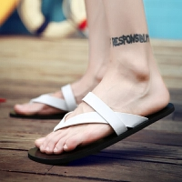 夏季韩版潮流真皮男拖鞋男士白色沙滩凉拖个性凉鞋室外防滑人字拖
