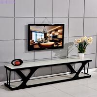 现代简约时尚欧式铁艺烤漆黑色钢化玻璃电视柜创意客厅 组装