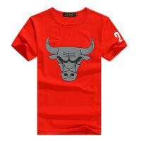夏季短袖男装 莫代尔弹力纯棉公牛队篮球短袖T恤 23号球衣 红色