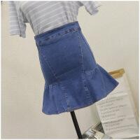 夏季修身短裙包臀荷叶摆高腰牛仔半身裙女23753