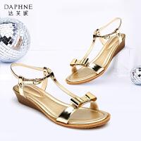 Daphne达芙妮 夏季 女鞋 时尚蝴蝶结露趾坡跟女凉鞋