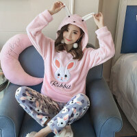 韩版绒睡衣女甜美可爱龙猫套装清新学生加厚绒家居服