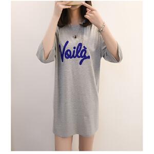 2018夏季新款女装韩版时尚中长款宽松圆领半袖 显瘦慵懒风T恤女